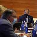 El presidente de las Cortes de Castilla-La Mancha, durante la reunión de la Junta de Portavoces para fijar el orden del día del próximo pleno.
